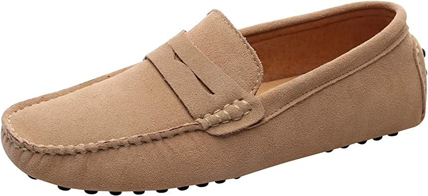 Jamron Hombres Cuero de Gamuza Penny Mocasines Comodidad Zapatos de Conducir Plano Pantuflas: Amazon.es: Zapatos y complementos