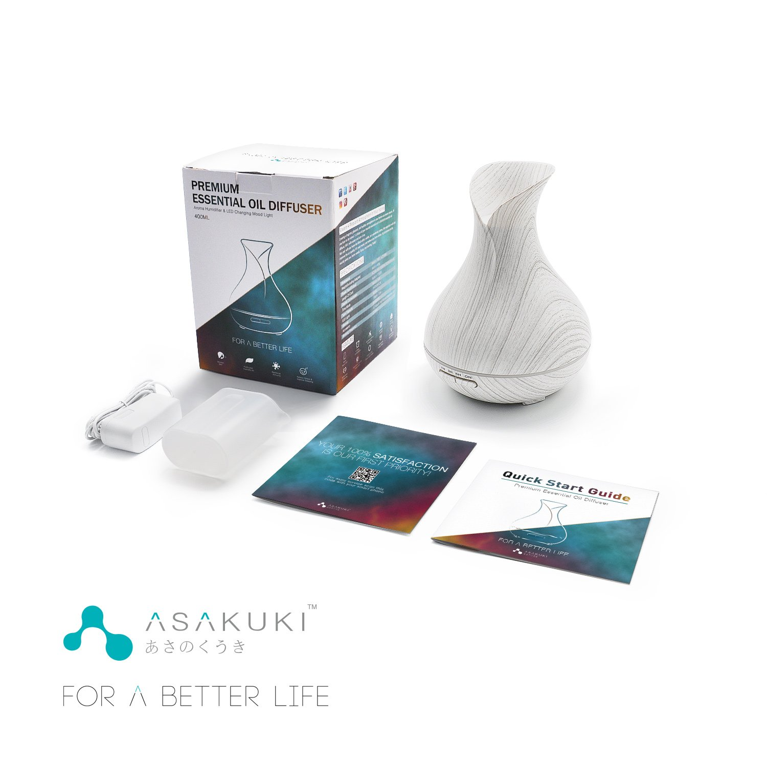 ASAKUKI 400ML Premium, Essential Oil Diffuser, Quiet 5-in-1 Humidifier, Natural Home Fragrance Diffuser with 7 LED Color Changing Light and Easy to Clean by ASAKUKI (Image #7)