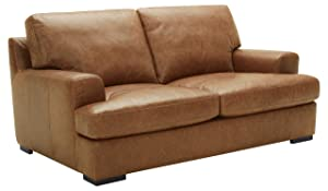 "Stone & Beam Lauren Down-Filled Oversized Leather Loveseat with Hardwood Frame, 74""W, Cognac"