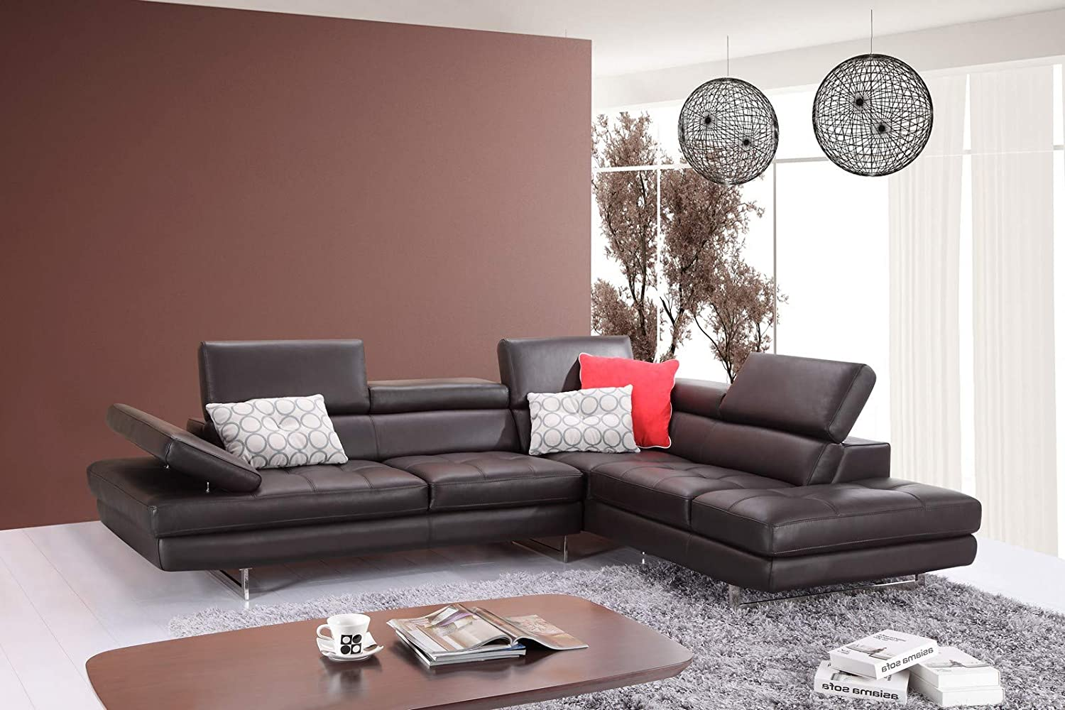 J M Furniture A761 Italian Leather Sectional Slate Coffee In Right Hand Facing Furniture Decor