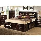 Roundhill Furniture Ankara Wood Storage Bed, King, Espresso
