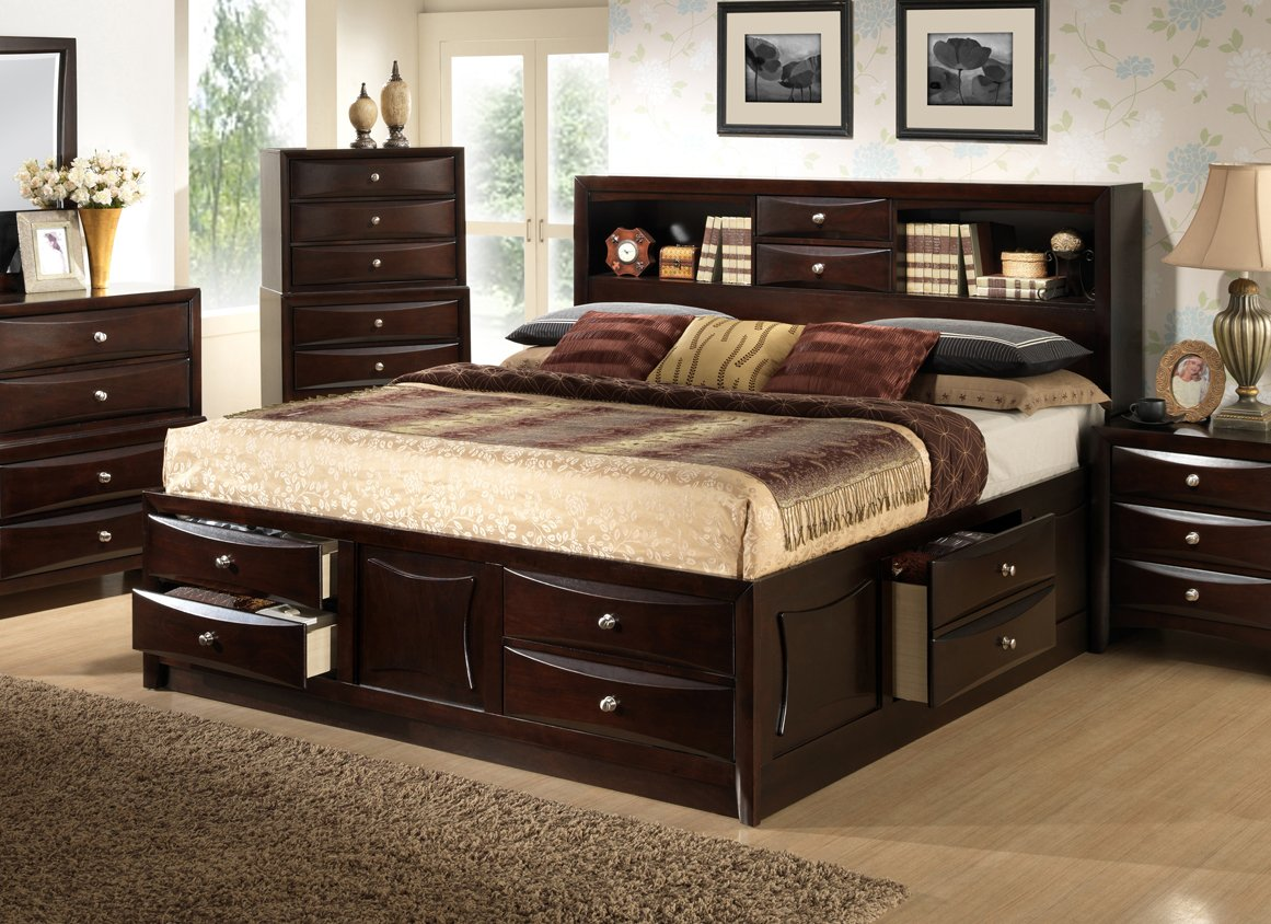 Amazon com  Roundhill Furniture Ankara Wood Bedroom Set Includes King Bed Dresser Mirror with 2 Nightstands Espresso Kitchen Dining