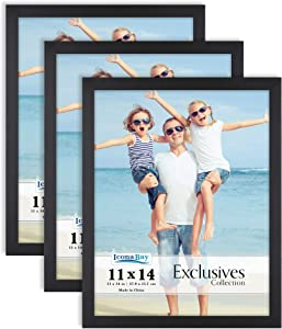 Icona Bay 11x14 Picture Frame (Black, 3 Pack), Sturdy Wood Composite Photo Frame 11 x 14, Sleek Design, Table Top or Wall Mount, Exclusives Collection
