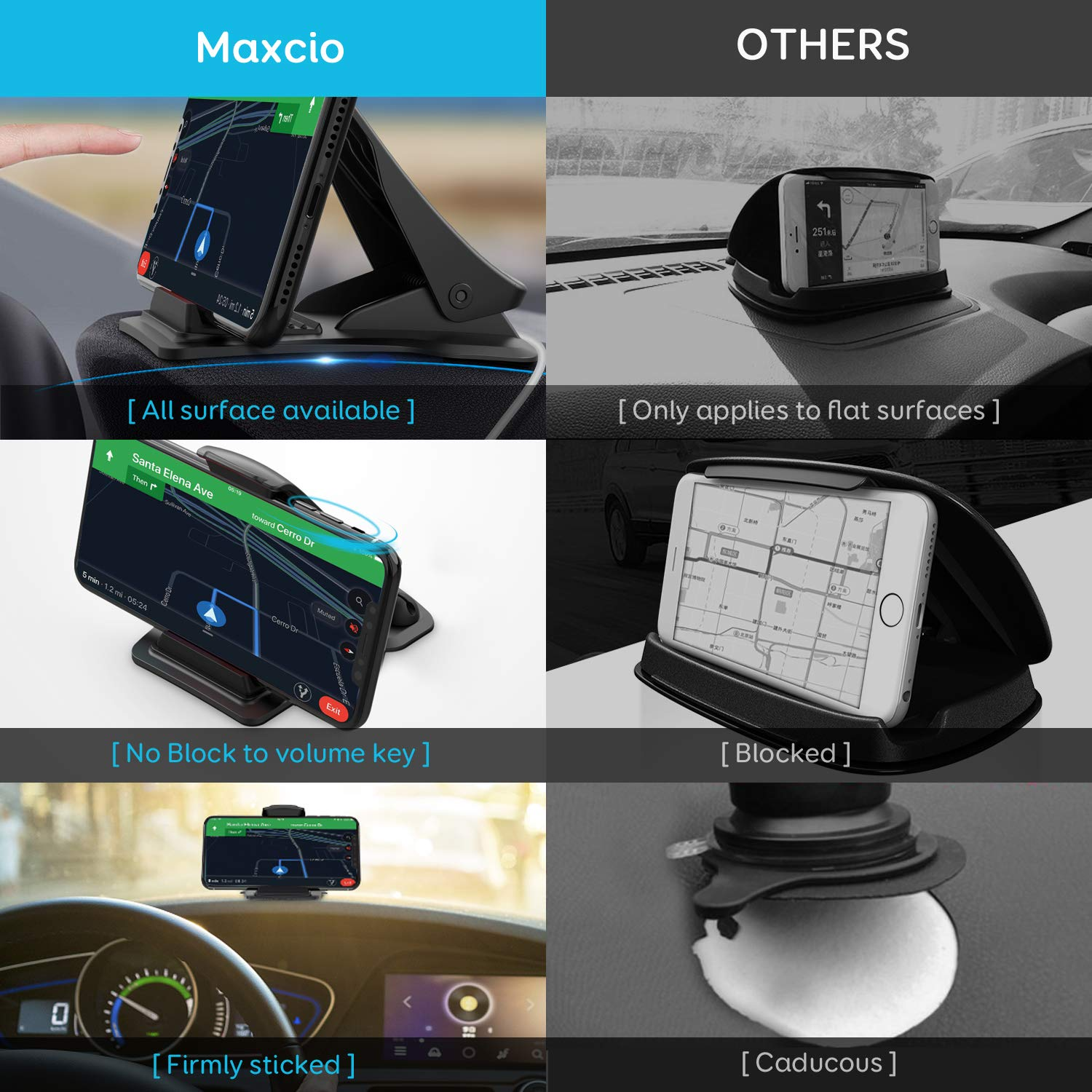 Cell Phone Holder for Car Maxcio Car Phone Mount with 4 Cable Clip Organizer Samsung Galaxy S9//S8//S7 Clip GPS//Cell Phone Holder for Dashboard Dashboard GPS Holder Mounting in Vehicle Anti-Slip Desk Phone Stand for iPhone Xs//8//7//6s Plus