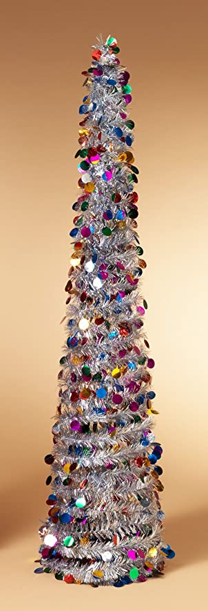Amazon Com Pop Up Tinsel Tree Silver With Multi Colored Circles  - Pull Up Christmas Trees