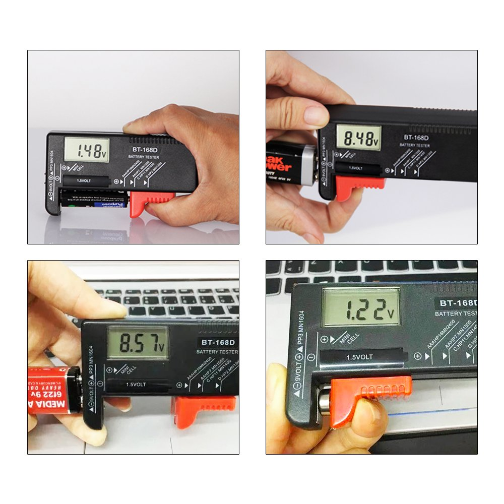 iNeith tester digitale per batteria Volt per AA AAA C D 9 V 1,5 V pile a bottone BT-168D