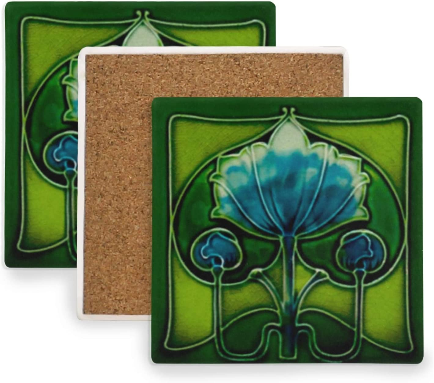 Set of 4 Coasters for Drinks, Art Nouveau Blue Flower Absorbing Square Ceramic Coaster, Cork Base,Tabletop Protection Mat for Mugs and Cups,Office,Kitchen