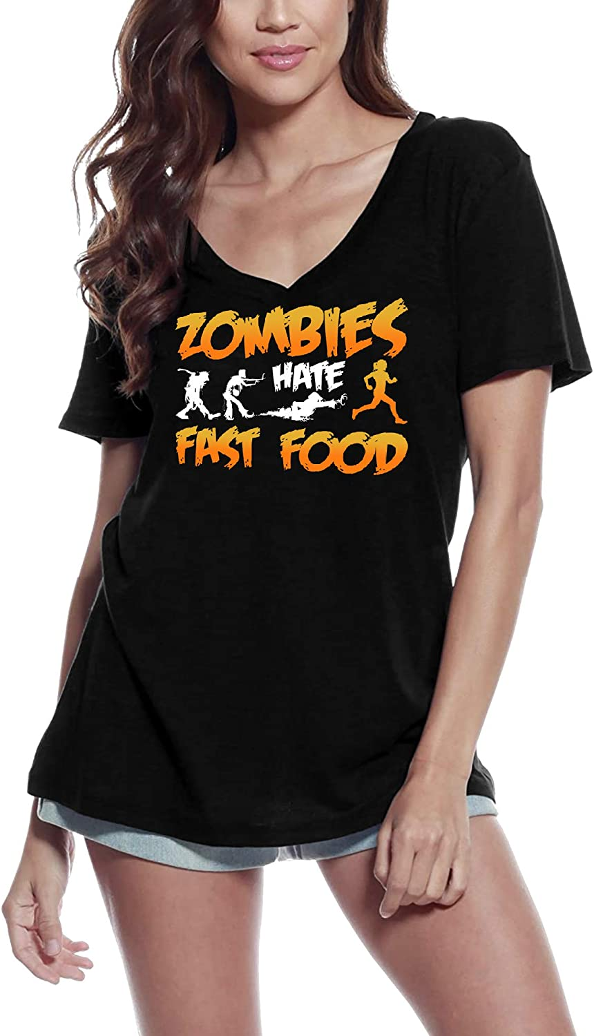 Ultrabasic Women's T-Shirt Zombies Hates Fast Food - Funny Vintage Tee Shirt