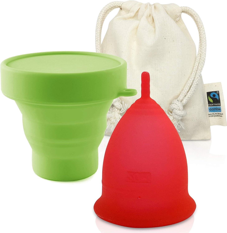 Copa Menstrual CozyCup CLASSIC - Hecha de Silicona de Grado Médico (rojo, grande)