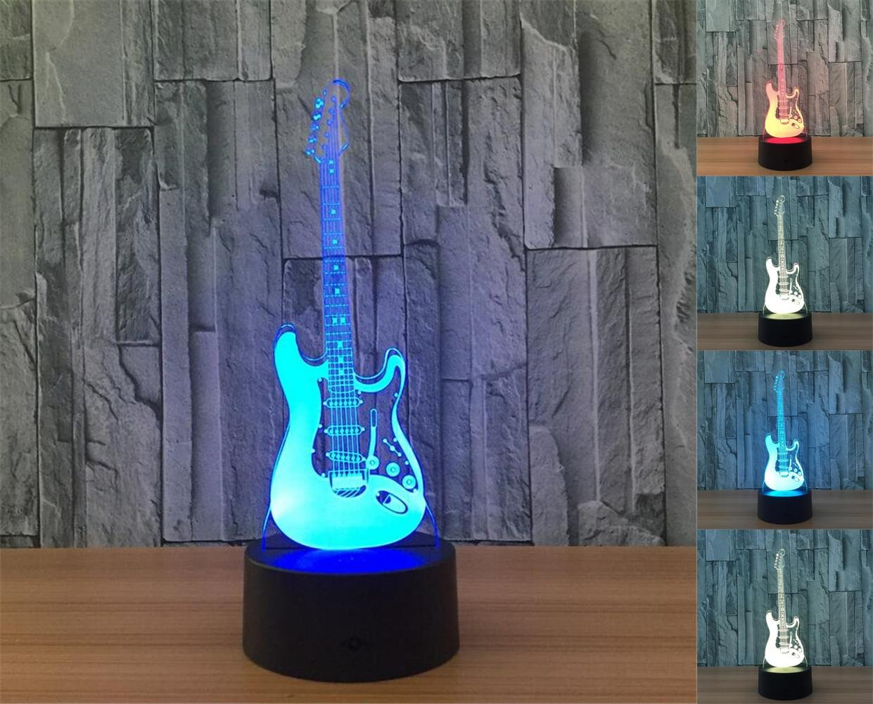 W-ONLY YOU-J LED Guitar 3D Lights Colorful remote touch creative products Gift table lamp LED light Night light