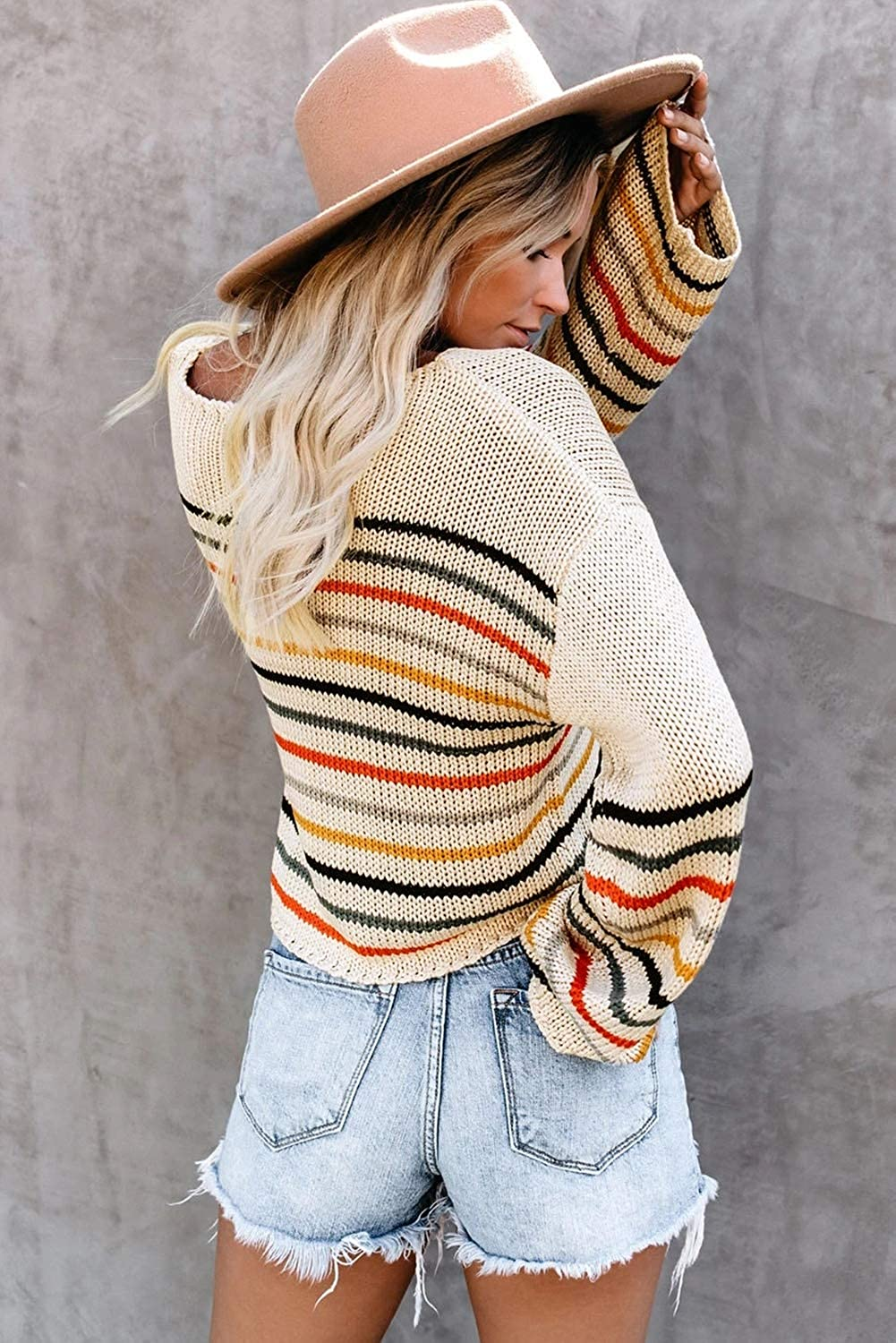 Lylinan Women/'s Rainbow Striped Sweaters Colorblock Off Shoulder Long Sleeve Pullover Knit Crop Tops