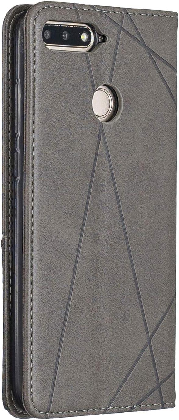 2018 - LOBFE160205 Blau Huawei Y6 2018 H/ülle Leder, Schutzh/ülle Brieftasche mit Kartenfach Klappbar Magnetverschluss Sto/ßfest Kratzfest Handyh/ülle Case f/ür Huawei Y6 Lomogo