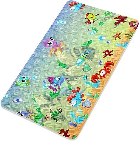 Suction Cup Sea Animals Drain Holes HANBEN Bathtub Mat 28 X 16 Inch Cartoon Bath tub Mats for Kids Machine Washable Non-Slip Baby Shower Mat with Threaded Surface