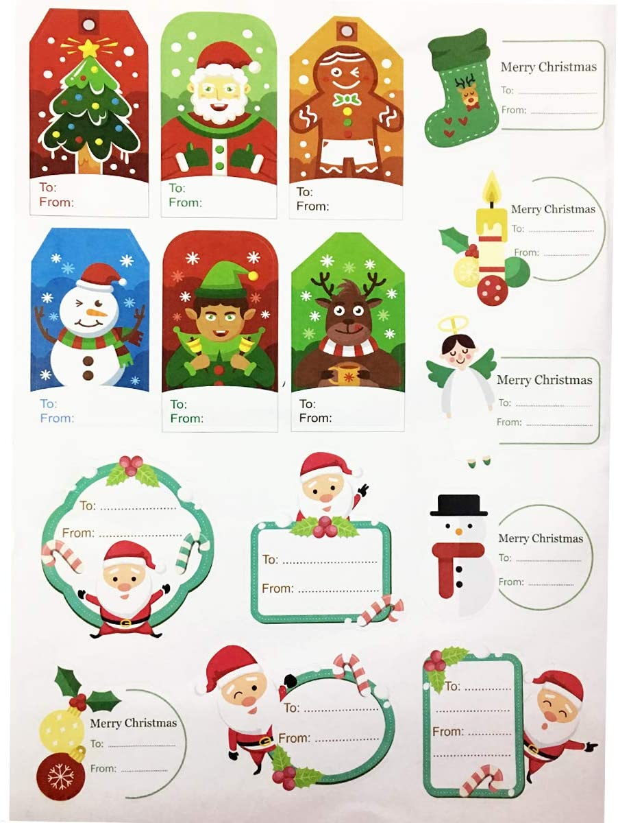 JANOU Merry Christmas Self Adhesive Gift Tag Stickers Xmas Decorative Presents Name Labels Decals for Christmas New Year Gifts Pack 168 Pcs