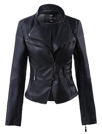 ad8898bc8dc Mooncolour Women Slim Lapel Faux Leather Zip-Up Power Shoulder Bomber Moto  Jacket Black(