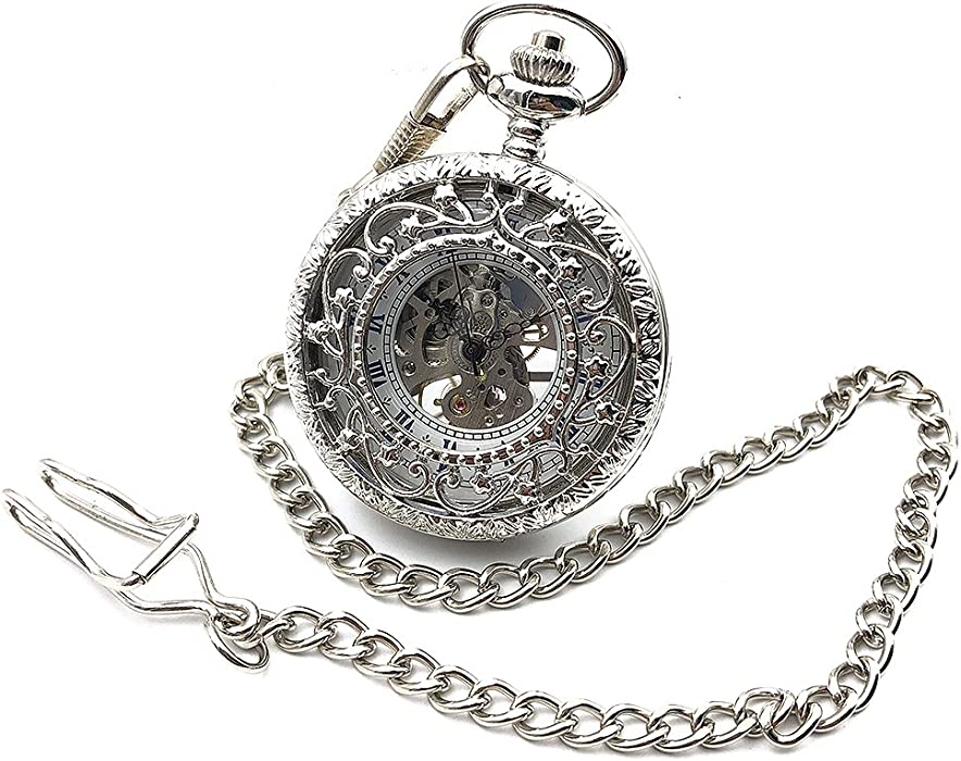 Amazon.com: Antique Style Silver Tone Hollow Case Roman Number Dial Hand Wind Mens Mechanical Pocket Watch w/Chain Reloj De Bolsillo Gift: Watches