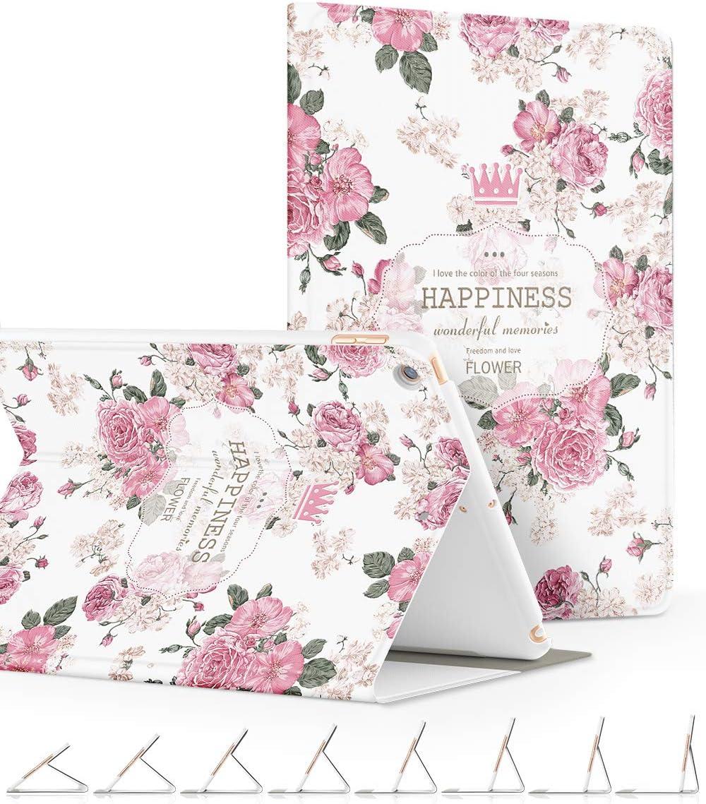 GVIEWIN Funda iPad 9.7 2018/2017, Ultra Delgado Poéticos Patrones Serie Ángulos de Soporte Múltiple Ajustables con Auto Dormir/Despertar, Funda Protectora para iPad de 9.7 (Rosa pálida/Rosa)