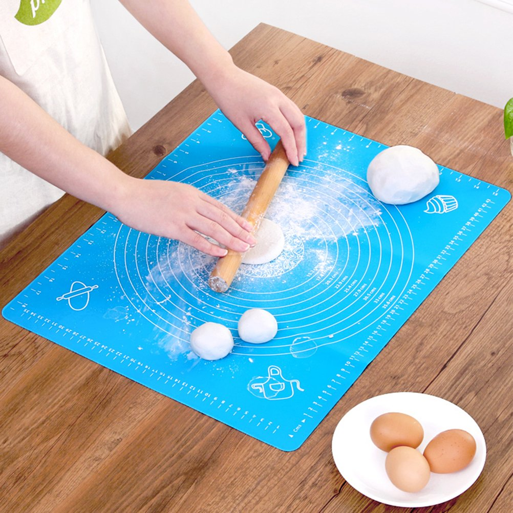 Silicone Baking Mat for Pastry Rolling with Measurements, Reusable Non-Stick Kneading Dough Mat, Silicone Cooking Mat, Heat Resistance Table Placemat Board for Cooking Lovers