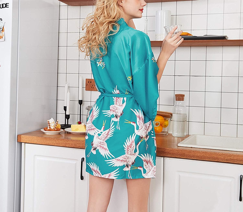 Asskyus Kimono Abito da Notte in Raso da Donna Accappatoio Corto per Donna