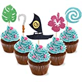 30pcs Moana Inspired Cupcake Toppers Birthday Party Decoration Boat Sail Swirls Hooks Hawaiian Flower Leaves for Tropical Luau Summer Party Baby Shower