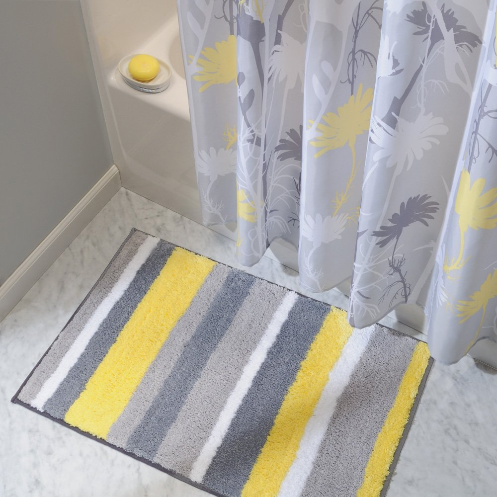 gray and yellow bathroom accessories. amazon.com: interdesign microfiber stripz bathroom shower accent rug, 34 x 21, gray/yellow: home \u0026 kitchen gray and yellow accessories