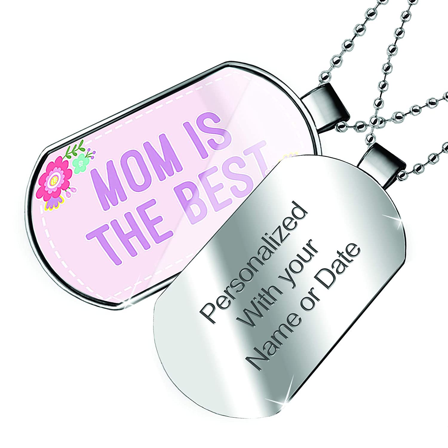 NEONBLOND Personalized Name Engraved Mom is The Best Mothers Day Cute Flowers Dogtag Necklace