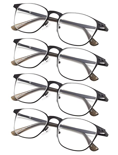 5ad97e6ffcd Amazon.com  4-pack Reading Glasses with Spring Temples Black +0.75  Clothing