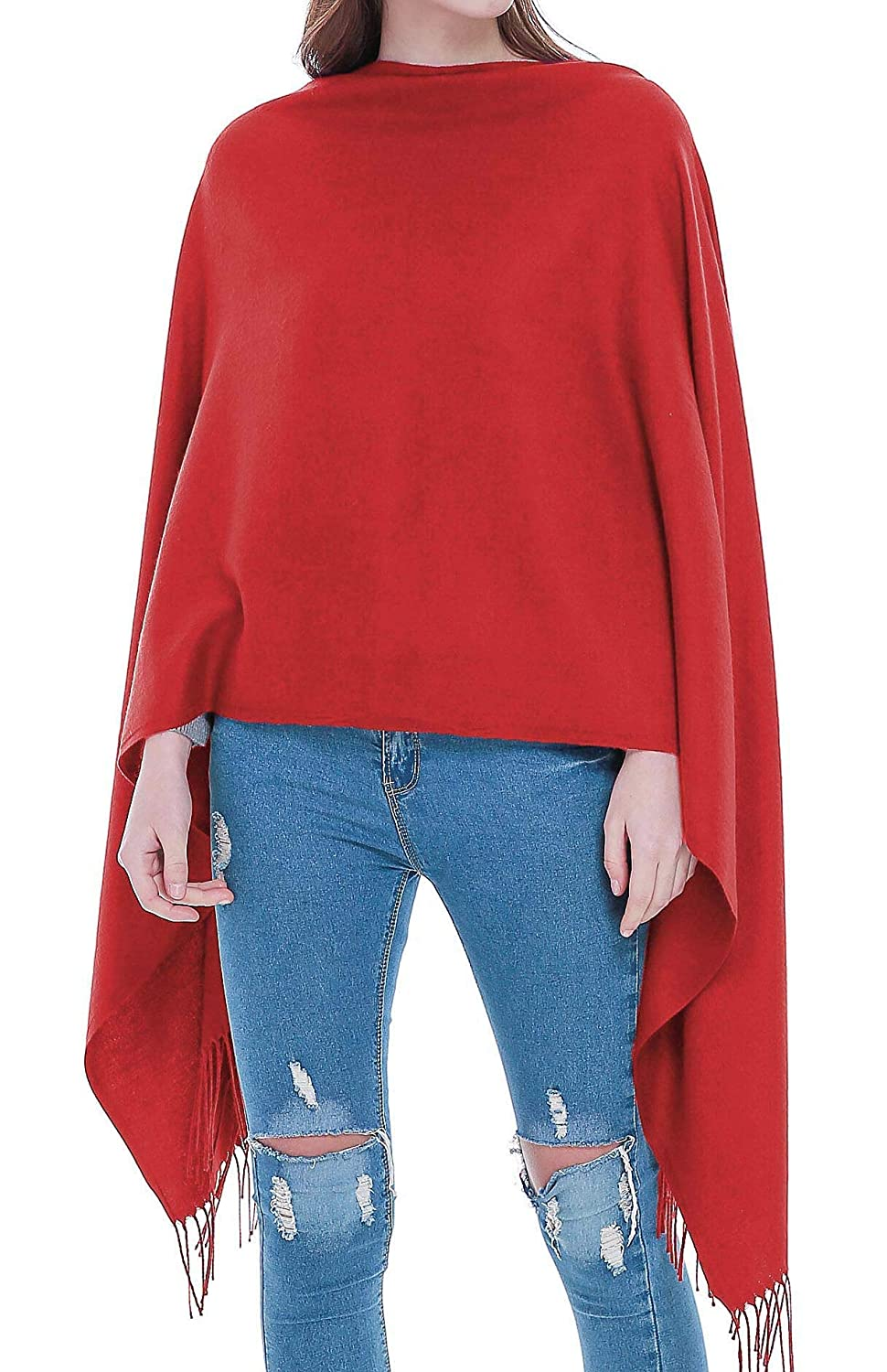 Red Rheane Large Cashmere Feel Pashmina Shawl Scarf in Solid colors