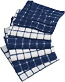 "DII Cotton Terry Windowpane Dish Cloths, 12 x 12"" Set of 6, Machine Washable and Ultra Absorbent Kitchen Bar Towels-Nautical Blue"