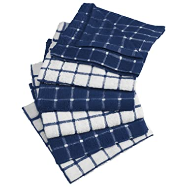 DII Cotton Terry Windowpane Dish Cloths, 12 x 12  Set of 6, Machine Washable and Ultra Absorbent Kitchen Dishcloth-Nautical Blue