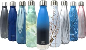 17oz Stainless Steel Vacuum Insulated Water Bottle | Leak-Proof Double Walled Cola Shape Bottle | Keeps Drinks Cold for 24 Hours & Hot for 10 Hours (Ombre: Sea Breeze, 17oz)
