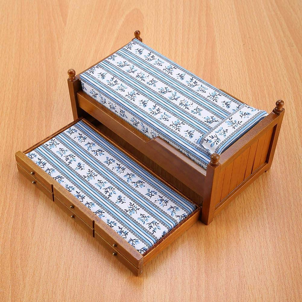 Muebles de casa de mu/ñecas marr/ón 1:12 Casa de mu/ñecas Mini Muebles de Juguete Cama Favorito de Madera para ni/ñas con cajones deslizantes para ni/ños Juguete Casa de mu/ñecas DIY
