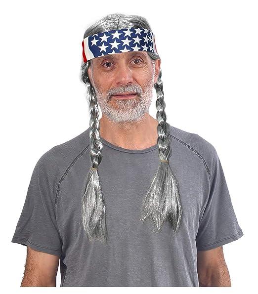 Amazon.com: Peluca con bandana de la bandera estadounidense ...