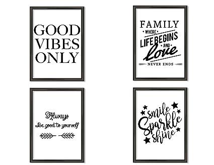 Hometastic 4 Premium Poster Im Set Bilder Für Wohnzimmer Und Schlafzimmer Wandbild Kunstdruck Mit Spruch In Schwarz Weiß Ohne Bilderrahmen