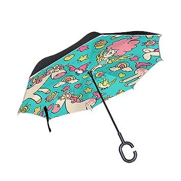 Mi Diario Doble Capa Paraguas invertido coches Reverse paraguas, diseño de unicornio y estrellas Cartoon