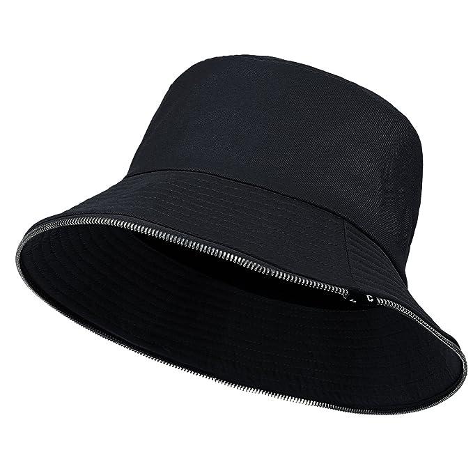 28c66c0f2dd86 ... australia ililily casual zip detail vintage boonie hat color foldable  bucket fedora hat black e607e 15cc6