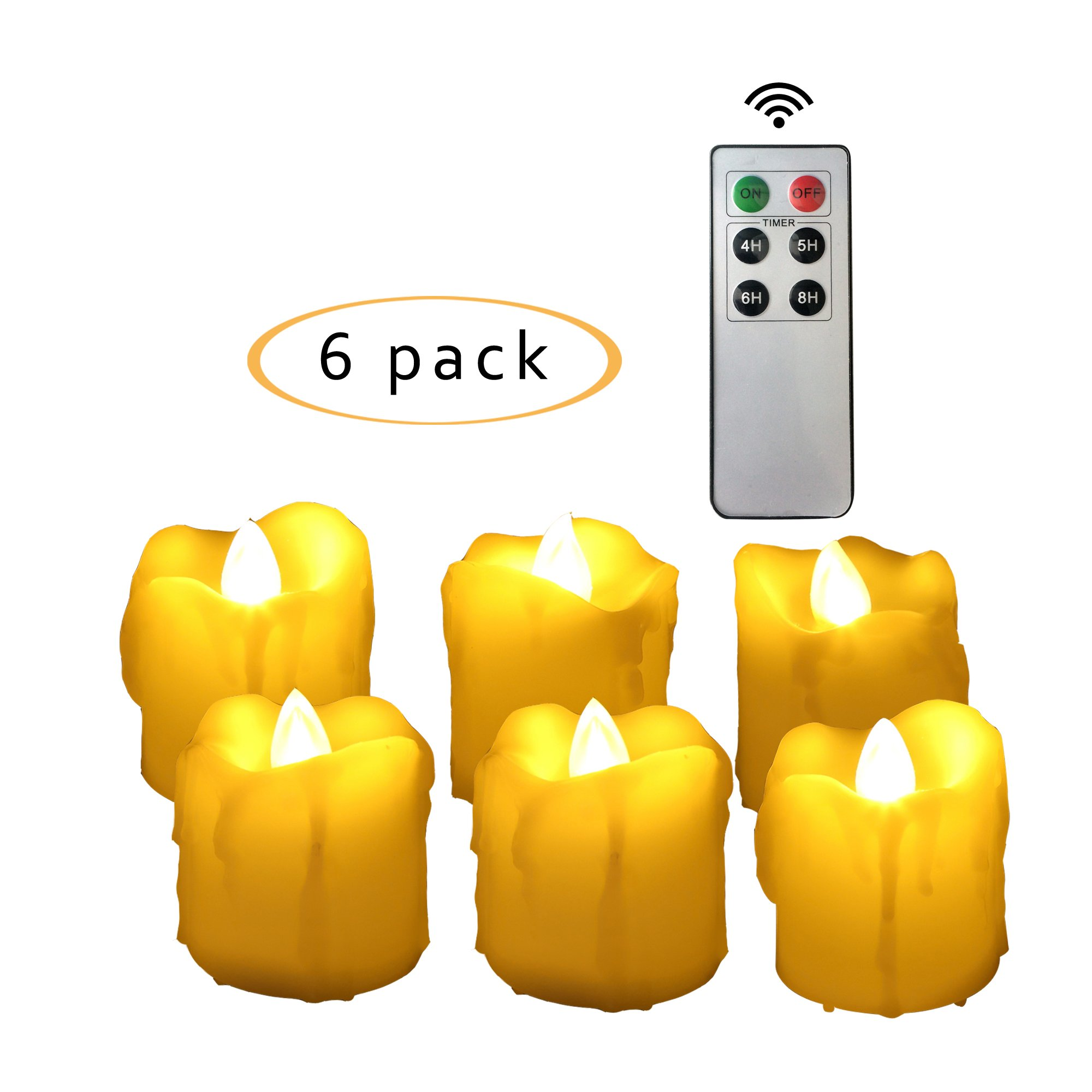 Candle Choice 6 PCS Realistic Flickering Flameless Candles, LED Votives, Battery-operated Tea Lights with Remote and Timer, Long Lasting, 1.5''x2'', Drips