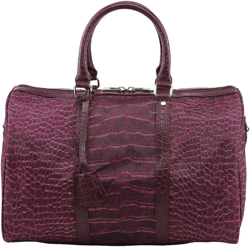 Burgundy Softbag Women's Medium Printed Signature Boston Crocodile Handbag, Style H13WB012M