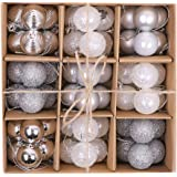 "Victor's Workshop 54Pcs Christmas Baubles, 1.2""/3cm Silver White Shatterproof Christmas Ornaments Tree Balls Decoration Themed with Matching Stocking (Frozen Winter)"