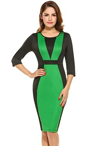 HOTOUCH Women's 3/4 Sleeve Patchwork Bodycon Business Party Dress