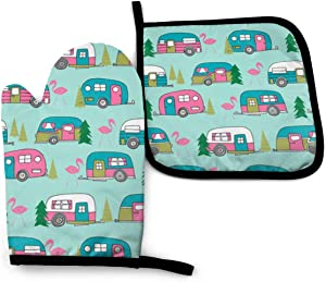 NiYoung Fashion Happy Camper Camping Flamingo Mint Green Oven Mitt and Pot Holder, Heat Resistant Hot Plate Moving Non-Slip Kitchen Glove and Potholder for Cooking,Baking,Grilling