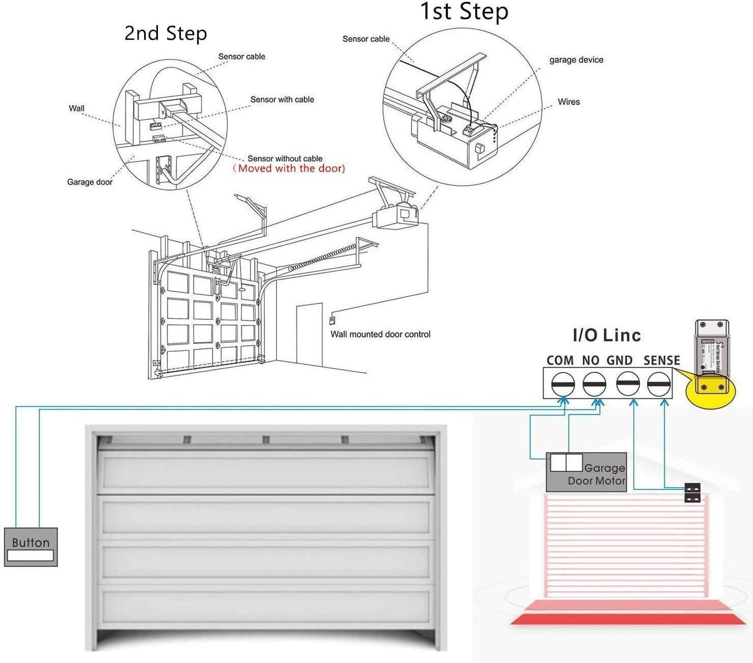 Intelligent WiFi Garage Door Opener WiFi Garage Door Switch No Hub Required Google Assistant Smart Life//Tuya App Control Compatible with Alexa Smart WLAN Garage Door Opener 2.4G WiFi