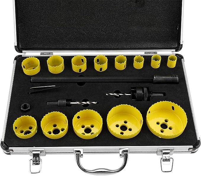 17 piezas para madera PVC Juego de sierras de corona HSS bimetal di/ámetro 19-76 mm malet/ín acr/ílico y metal coronas de perforaci/ón broca de lata