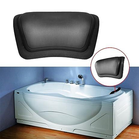 MIJORA Black Bathtub Pillow Headrest Waterproof PU Bath Pillows Bathroom  Supplies FDJS6