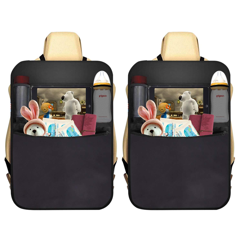 AUTOARK 2 Pack Car Kick Mat Protector 4 Pockets Seat Back Organizer + 1 Free Tissue Boxes,Waterproof,Multi-Pocket Travel Storage Bag,AK-084 by AUTOARK