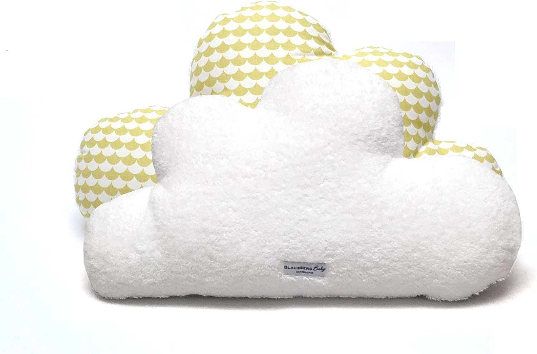 Coussin Doudou en forme de nuages avec /éponge c/ôt/é D/éco Blausberg Baby Schuppe jaune