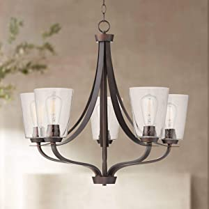 "Merriman Bronze Chandelier 28"" Wide Industrial Clear Seeded Glass 5-Light Fixture for Dining Room House Foyer Kitchen Island Entryway Bedroom - Franklin Iron Works"