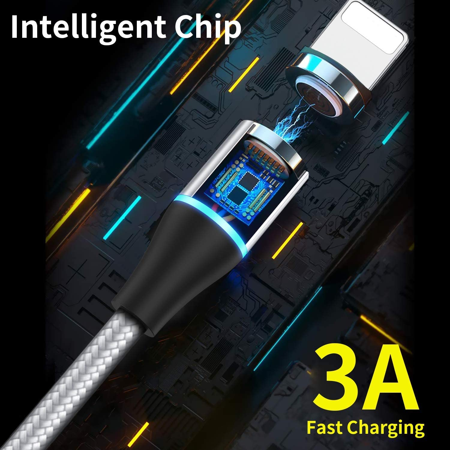 AVIWIS 2M Multi Magnetic Charger Cable Nylon Braided Magnetic 3A Fast Charger Cable for Smartphones Micro USB//Type C//Phone 3 in 1 Magnetic Charging Cable