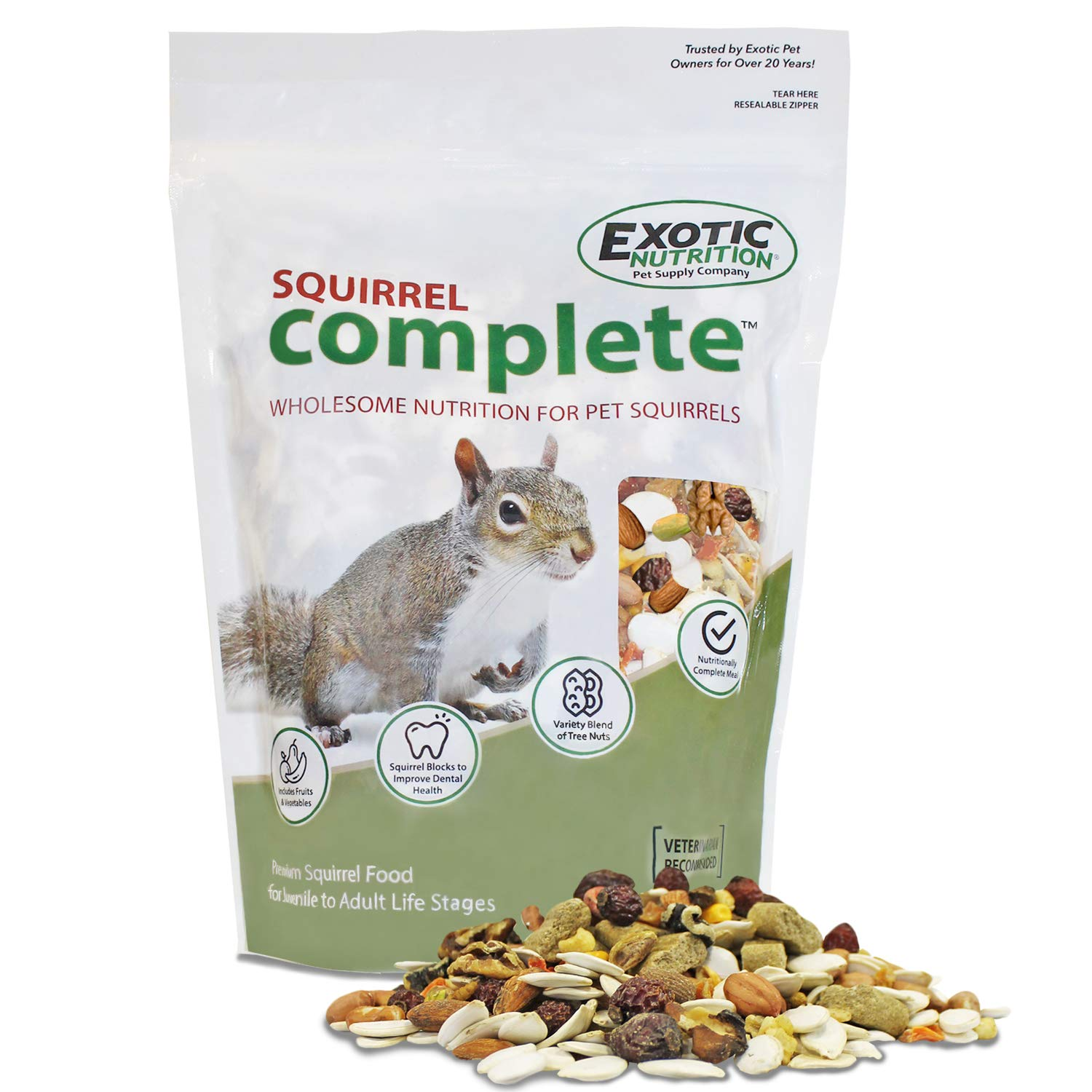 Squirrel Complete (1.75 lb.) - Healthy Natural Food - Nutritionally Complete Diet for Pet & Captive Squirrels - Ground Squirrels, Grey Squirrels, Flying Squirrels, Chipmunks by Exotic Nutrition