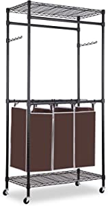 alvorog Rolling Laundry Sorter Cart Heavy-Duty Garment Rack Commercial Grade Clothes Rack with Top and Bottom Shelves and Removable Bags for Laundry Room, Black